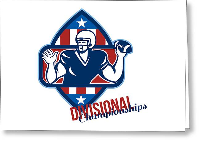 Divisional Greeting Cards - American Football Quarterback Divisional Championships Retro Greeting Card by Aloysius Patrimonio