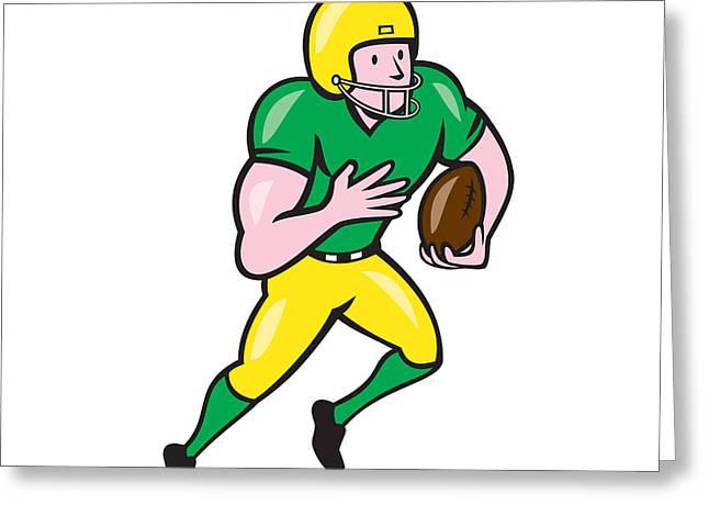 Wide Receiver Greeting Cards - American Football Receiver Running Ball Cartoon Greeting Card by Aloysius Patrimonio
