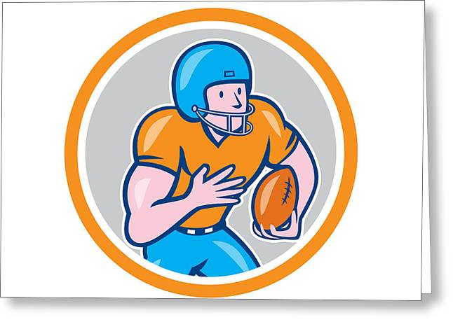 Wide Receiver Greeting Cards - American Football Receiver Running Ball Circle Shield Greeting Card by Aloysius Patrimonio