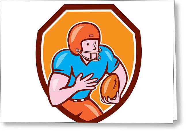 Wide Receiver Greeting Cards - American Football Receiver Running Ball Shield Greeting Card by Aloysius Patrimonio