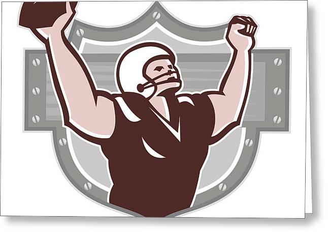 Tailback Greeting Cards - American Football Receiver Touchdown Retro Greeting Card by Aloysius Patrimonio