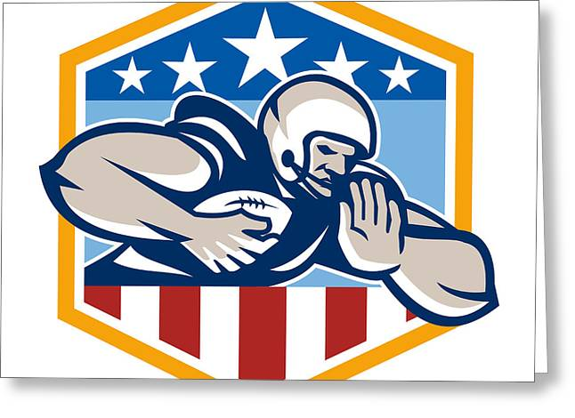 Tailback Greeting Cards - American Football Running Back Fend-Off Crest Greeting Card by Aloysius Patrimonio