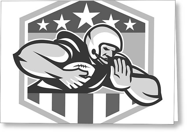 Tailback Greeting Cards - American Football Running Back Fend-Off Crest Grayscale Greeting Card by Aloysius Patrimonio