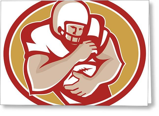 Tailback Greeting Cards - American Football Running Back Oval Retro Greeting Card by Aloysius Patrimonio