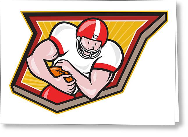 Tailback Greeting Cards - American Football Running Back Run Shield Cartoon Greeting Card by Aloysius Patrimonio