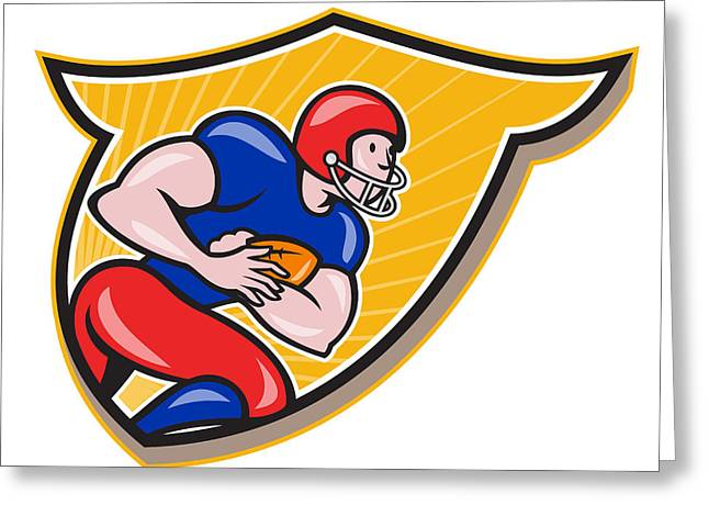American Football Running Back Rushing Shield Cartoon Greeting Card by Aloysius Patrimonio