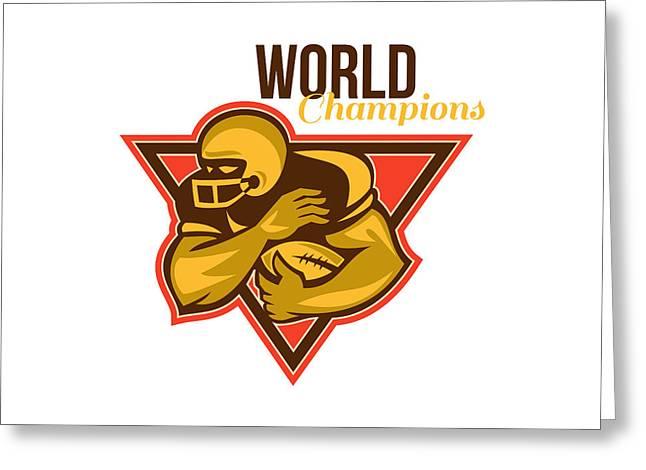 American Football Running Back World Champions Greeting Card by Aloysius Patrimonio