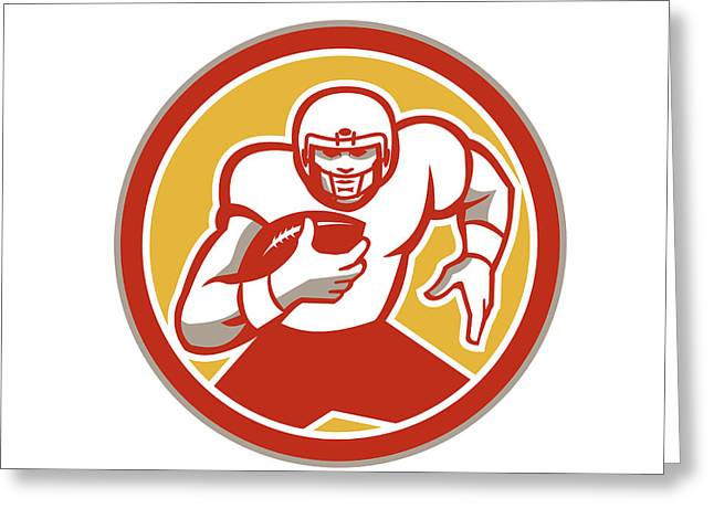 Tailback Greeting Cards - American Football Running Ball Circle Retro Greeting Card by Aloysius Patrimonio