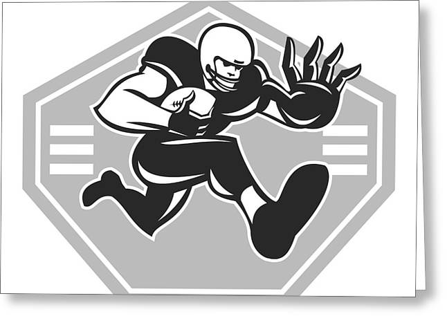 Stiff Greeting Cards - American Football Running Stiff Arm Grayscale Greeting Card by Aloysius Patrimonio