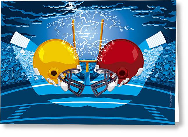 American Football Stadium Helmet Lightning Greeting Card by Frank Ramspott