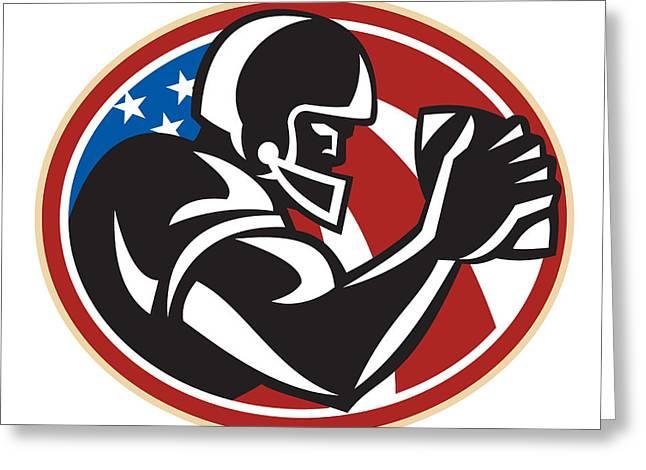 American Football Wide Receiver Ball Greeting Card by Aloysius Patrimonio