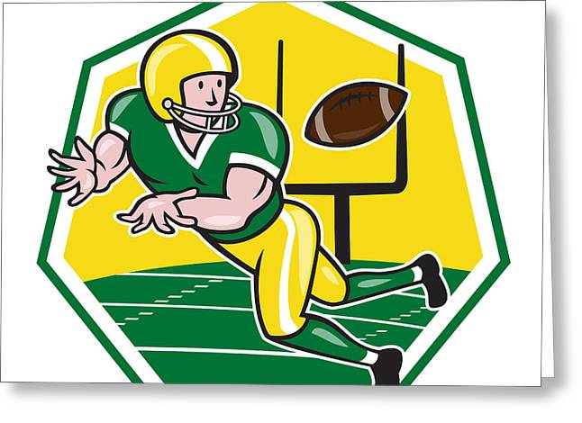 American Football Wide Receiver Catching Ball Cartoon Greeting Card by Aloysius Patrimonio