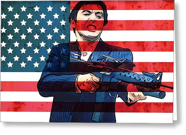 Tony Montana Greeting Cards - American Gangster Tony Montana Greeting Card by Dan Sproul