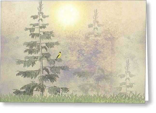American Goldfinch Morning Mist  Greeting Card by David Dehner