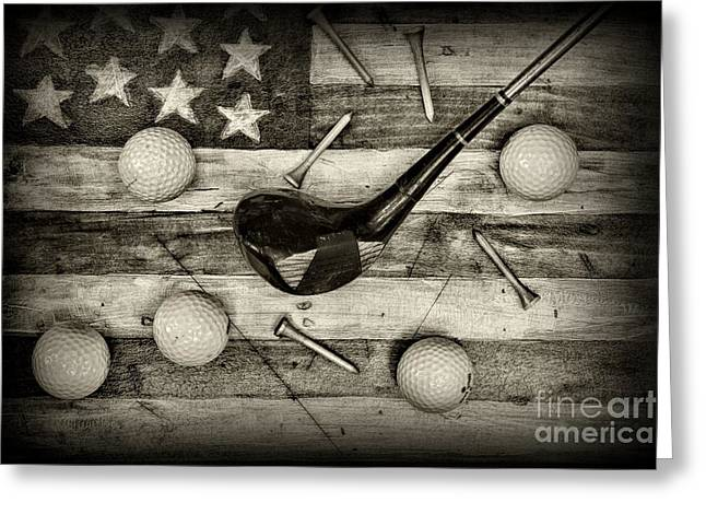 Bogey Greeting Cards - American Golfer in black and white Greeting Card by Paul Ward