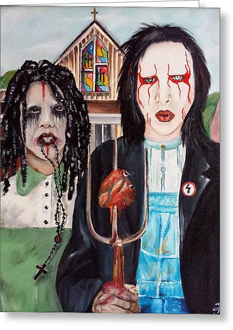 Twiggy Greeting Cards - American Goth Greeting Card by S G Williams