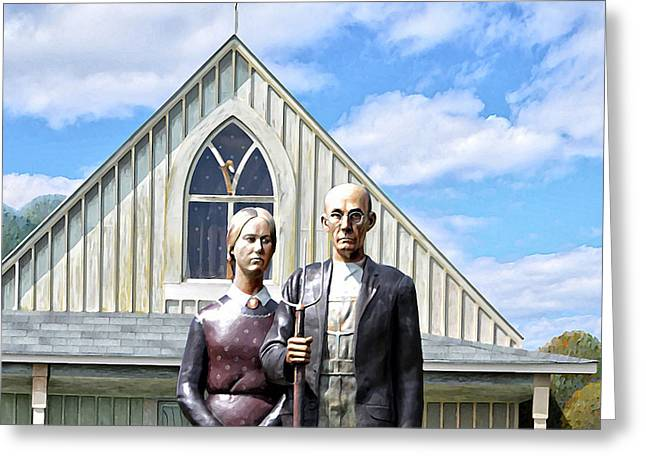 Grant Wood Greeting Cards - American Gothic  Greeting Card by Bill Cannon