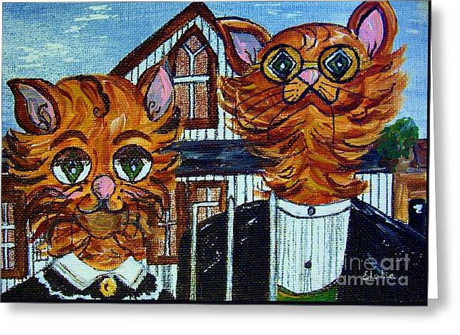 20th Greeting Cards - American Gothic Cats - A Parody Greeting Card by Eloise Schneider