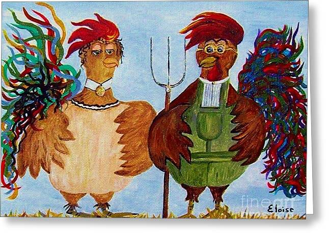 House Pet Mixed Media Greeting Cards - American Gothic Down on the Farm - A Parody Greeting Card by Eloise Schneider