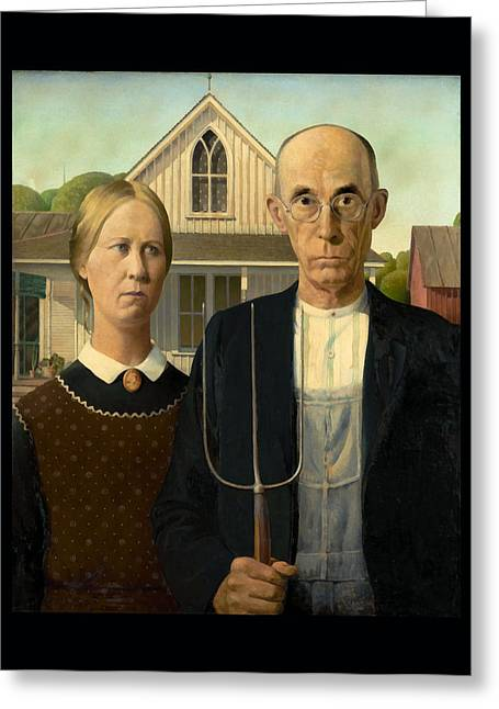 Grant Wood Greeting Cards - American Gothic Duvet Greeting Card by Grant Wood