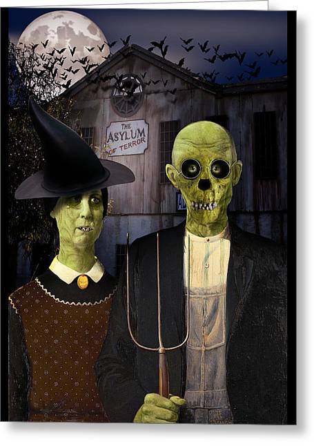 Grant Wood Greeting Cards - American Gothic Halloween Greeting Card by Gravityx Designs