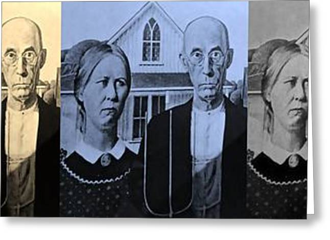 Green And Yellow Greeting Cards - AMERICAN GOTHIC in COLORS Greeting Card by Rob Hans