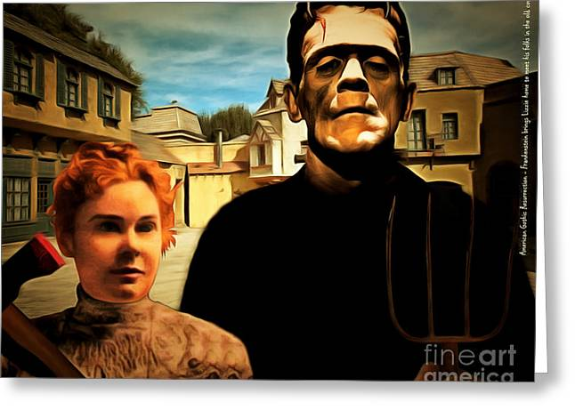 Lizzy Greeting Cards - American Gothic Resurrection Frank Brings Lizzie Home To Meet His Folks In The Old Country with text Greeting Card by Wingsdomain Art and Photography