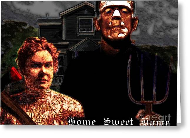 Horror Movies Greeting Cards - American Gothic Resurrection Home Sweet Home 20130715 Greeting Card by Wingsdomain Art and Photography