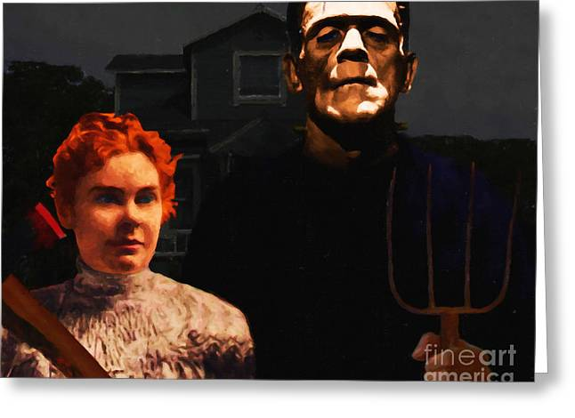 Lizzie Bordon Greeting Cards - American Gothic Resurrection - Version 1 Greeting Card by Wingsdomain Art and Photography