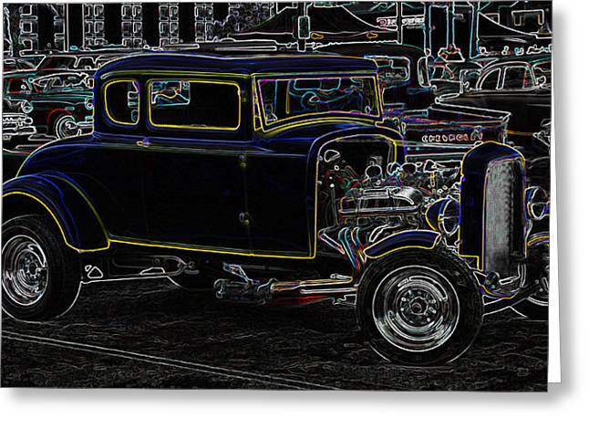 1949 Plymouth Greeting Cards - American Graffiti  Neon Greeting Card by Steve McKinzie