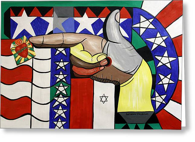 Stars And Strips Greeting Cards - American Hand Gun Greeting Card by Anthony Falbo