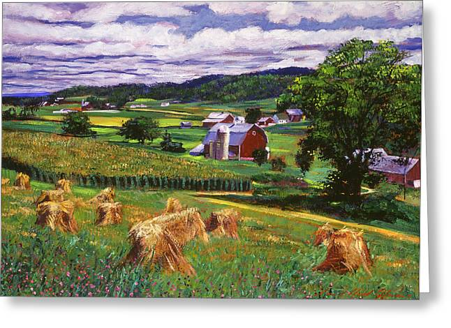 Red Barn Greeting Cards - American Heartland Greeting Card by David Lloyd Glover