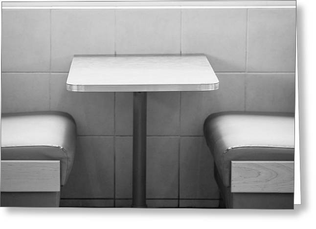 Take-out Greeting Cards - American Heritage - Diner in black and white Greeting Card by Kyra Savolainen