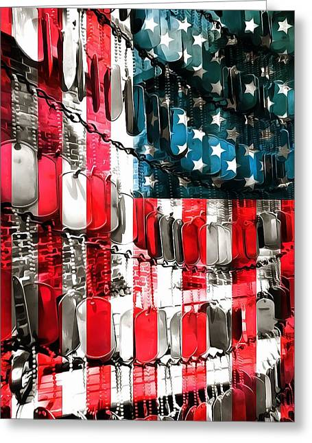 Forgotten Mixed Media Greeting Cards - American Heroes Greeting Card by Dan Sproul