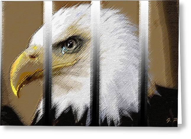 Bald Eagle Pastels Greeting Cards - American Heroes Unjustly Behind Bars Greeting Card by George Pedro