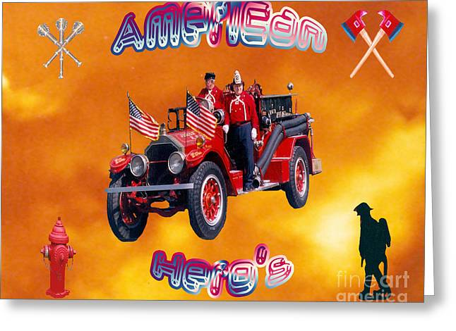Flag Fire Hydrant Greeting Cards - American Heros Greeting Card by Donna Brown