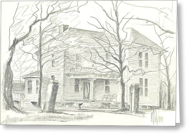 Structure Drawings Greeting Cards - American Home II Greeting Card by Kip DeVore