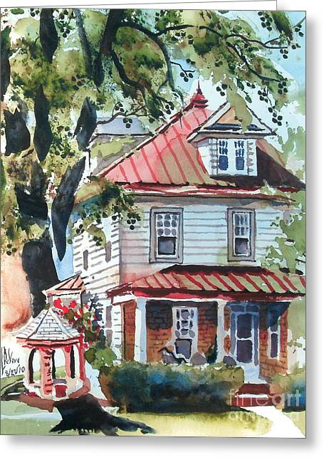 Abode Greeting Cards - American Home with Childrens Gazebo Greeting Card by Kip DeVore