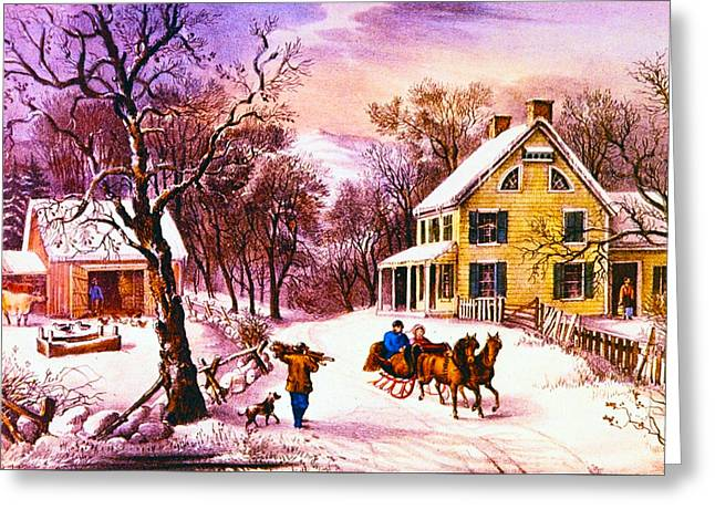 Horse-drawn Digital Art Greeting Cards - American Homestead Winter Greeting Card by Currier and Ives
