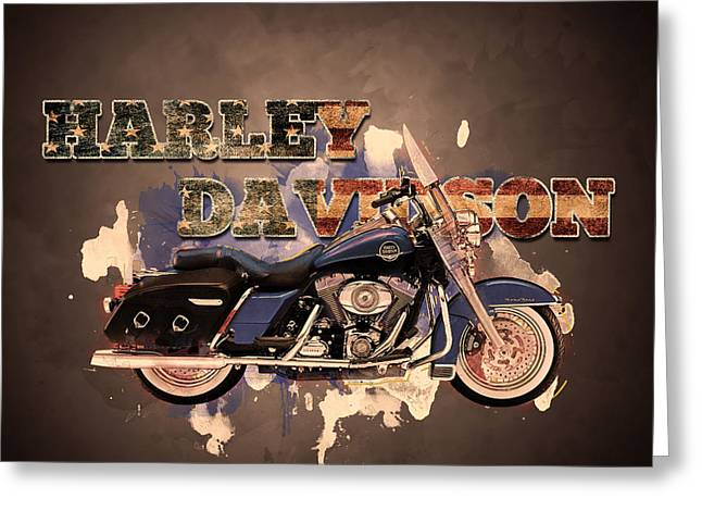 Bad Ass Greeting Cards - American Icon - Harley Davidson Greeting Card by Guy Dicarlo