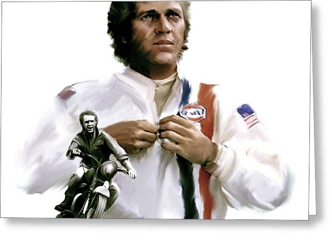 Legend Drawings Greeting Cards - American Icon IV  Steve McQueen Greeting Card by Iconic Images Art Gallery David Pucciarelli