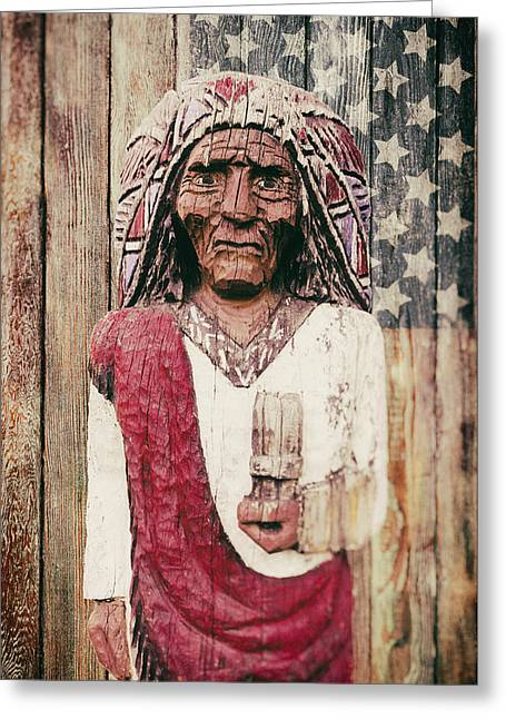 Old Wall Greeting Cards - American Icon - The wooden Indian Greeting Card by Carter Jones