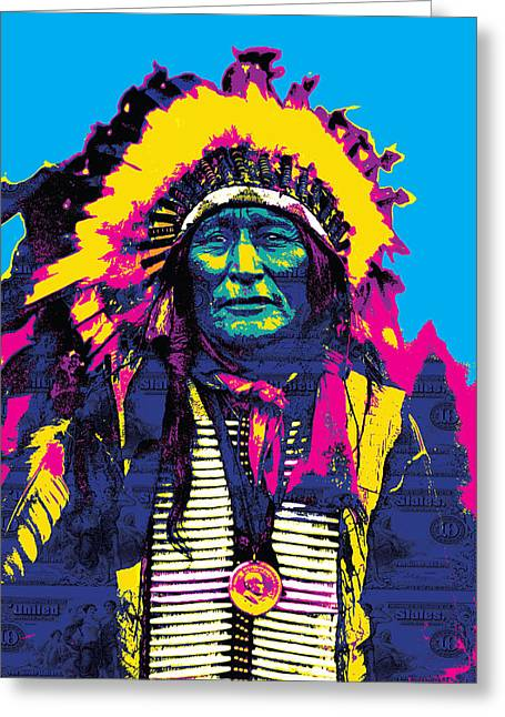 Gary Grayson Greeting Cards - American Indian Chief Greeting Card by Gary Grayson