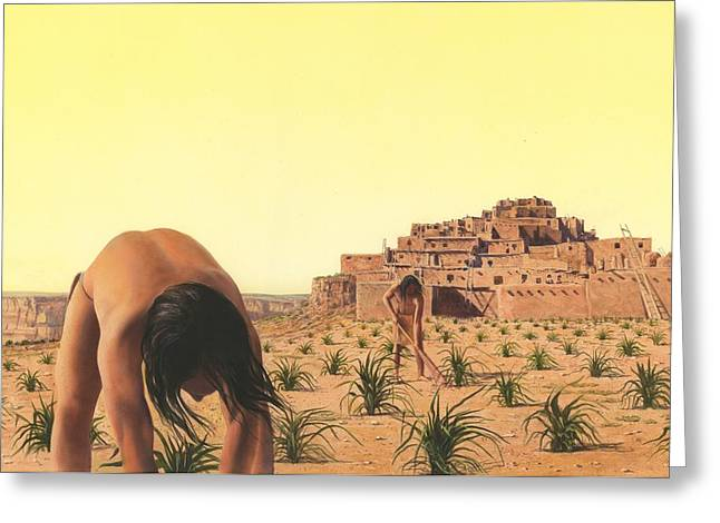 Native American Illustration Greeting Cards - American Indian Desert Dwellers Greeting Card by Rob Wood