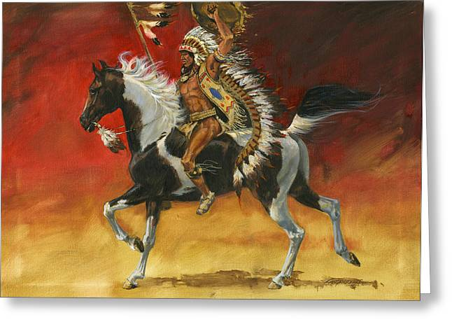 Indian Warriors Greeting Cards - Indian Warrior Bareback Spotted Horse Greeting Card by Don  Langeneckert