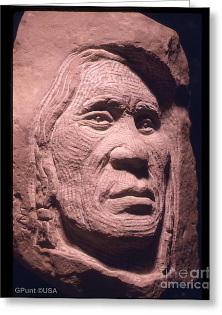 Chief Iron Tail Greeting Cards - American-Indian-Portrait-1 Greeting Card by Gordon Punt