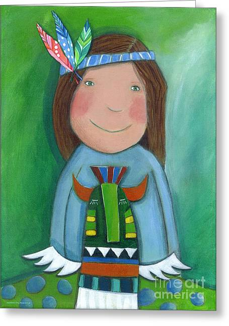 Crafts For Kids Greeting Cards - American Indian Greeting Card by Sonja Mengkowski