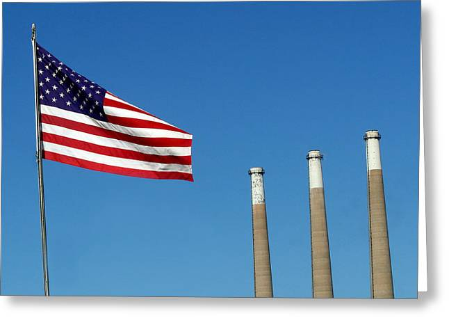 Power Plants Greeting Cards - American Industry Greeting Card by Art Block Collections