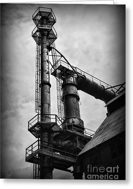 Abandoned Mill Greeting Cards - American Industry in Black and White Greeting Card by Paul Ward