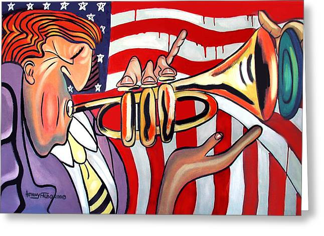 Cubist Greeting Cards - American Jazz Man Greeting Card by Anthony Falbo
